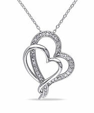 Sterling Silver 1/4 ct TDW Diamond Heart Pendant Necklace