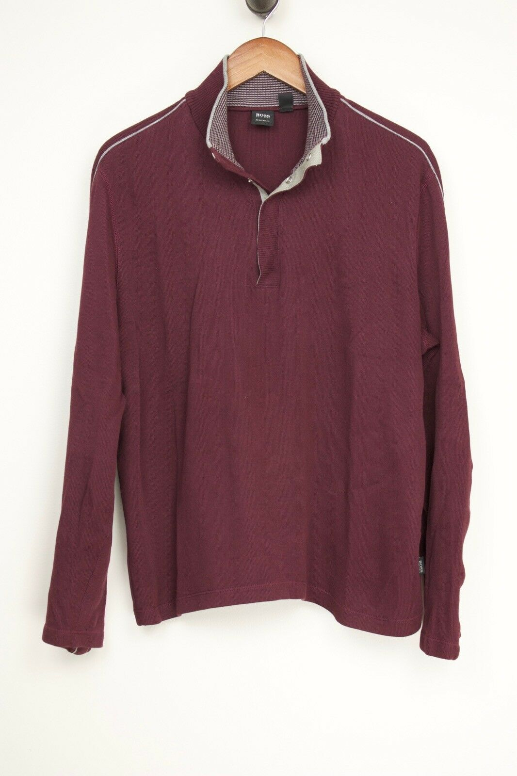 Hugo Boss Piceno  Herren Sweater L Burgundy grau Stripe Button Collar Long Sleeve