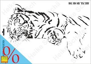 Schablone-Stencil-A3-186-0708-Tiger-Liegend-Neu-Heike-Schaefer-Design