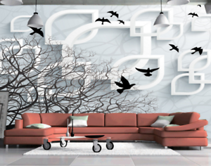 3D Crows Old Trees 77 Wall Paper Murals Wall Print Wall Wallpaper Mural AU Kyra