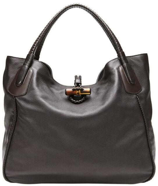 New Gucci Dark Brown Soft Deer Leather Large Hip Bamboo Tote Bag 338978 2164