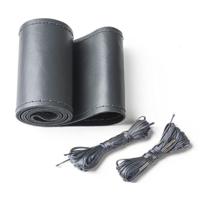 38cm / 15'' Gray Car Auto Steering Wheel Cover DIY Leather w/ Needle Thread