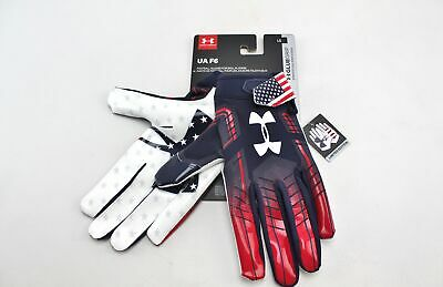 L Under Armour UA F6 Ltd Ed Patriotic USA Flag Glue Grip Football Gloves