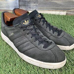 UK7-Adidas-Munchen-Black-Gold-Suede-Trainers-VTG-Retro-Football-Casual-EU41