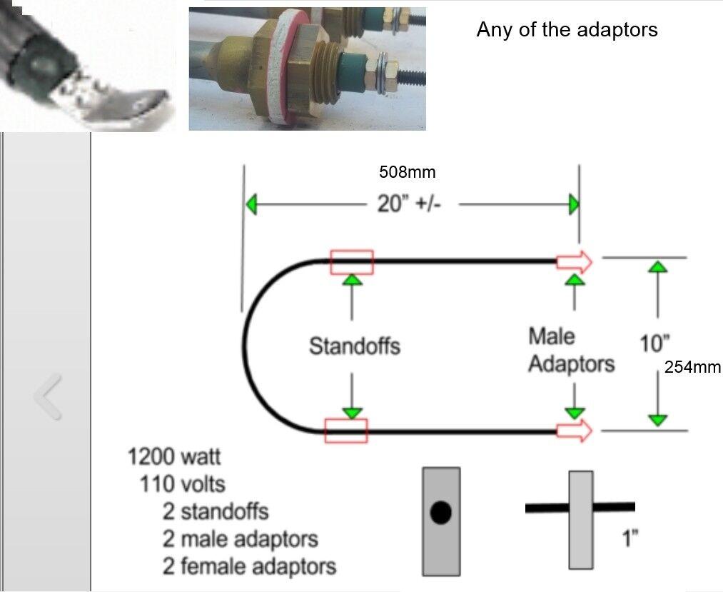 Electric heating tube 110V Air Heating Element D shape 1200W