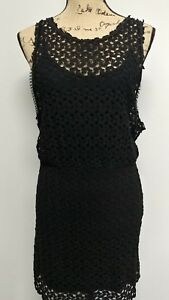 25120ce790aa7e free people black sheath blouson dress loose crochet with cami open ...