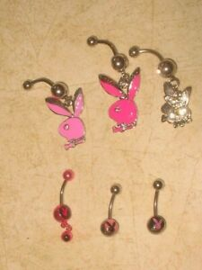 New-Playboy-Bunny-Navel-Belly-Ring-316L-Surgical-Steel-14G-U-PICK-LOOK