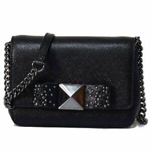 c5030c5c9e940c NWT Michael Kors Tina Small Black Bow Clutch Crossbody Bag Purse ...