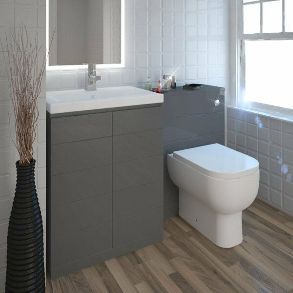 Bathroom & Cloakroom 1200 mm Mercury gris Vanity Unit with Sink toilettes and TAP