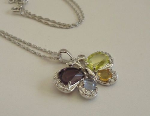 925 STERLING SILVER COLORFUL BUTTERFLY PENDANT NECKLACE W// MULTI-COLOR GEMSTONES