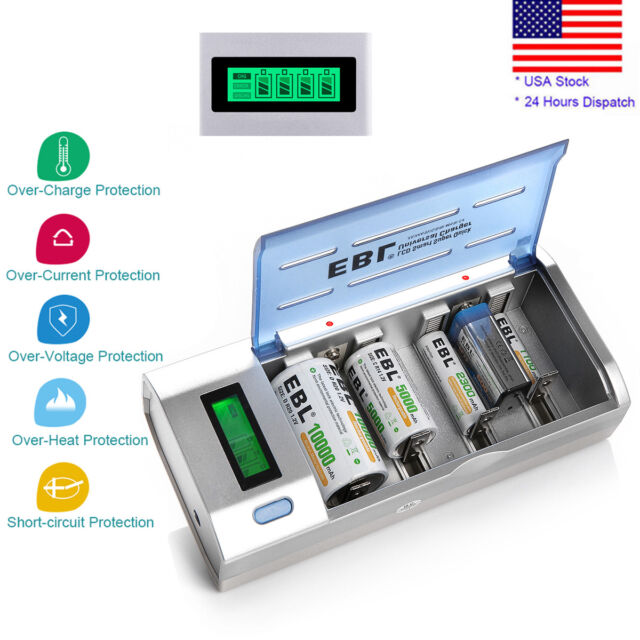 LCD Smart Battery Charger For 9V AAA AA C D Ni-MH Ni-CD Rechargeable Batteries