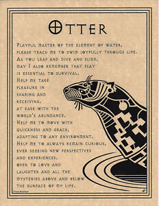 OTTER-PRAYER-Shaman-Animal-Spirit-Poster-Art-8-1-2-X-11-NATIVE-AMER-Celtic-Wicca
