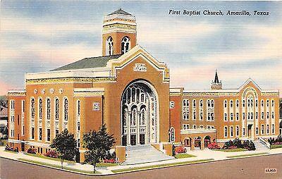 Texas Tx Postcard AMARILLO Linen FIRST BAPTIST CHURCH Building