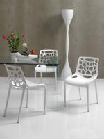 DC-490 Dupen Design Stuhl Set 4 Stühle Weiß Gartenstuhl Küchenstuhl Garten