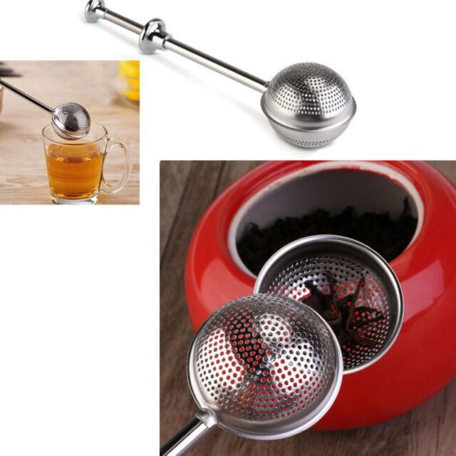 Steel Handle Mesh Ball Tea Strainer Infuser Spice Filter Squeeze Locking Spoon