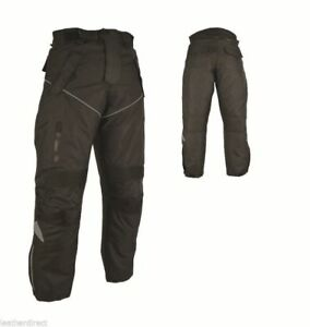 New-Mens-Motorcycle-Trouser-CE-Armoured-Black-Motorbike-Textile-Jeans-Waterproof