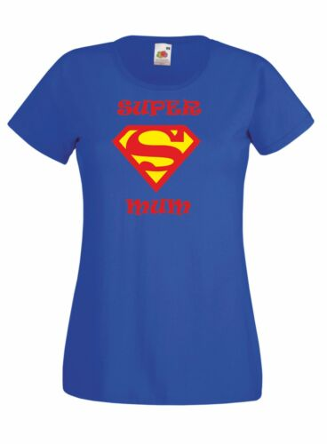 SUPER MUM Mothers day present gift Ladies Crew neck T Shirt blue or black