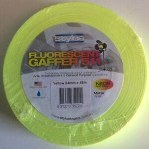 Yellow-Neon-Fluorescent-Gaffer-Tape-Stylus-511-24mm-x-45m