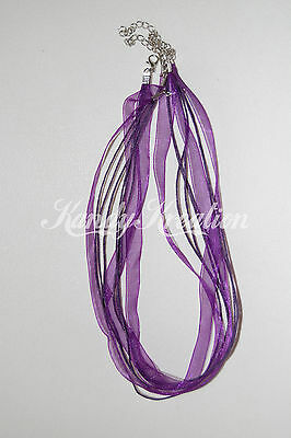 """10 Purple 17/"""" Organza Ribbon Cord Necklaces for jewelry party favors Gift Kids"""