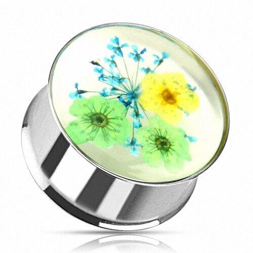 Flesh Ohr Tunnel Plug Piercing Double Flared Sommer Blumen Inlay Grün /& Gelb