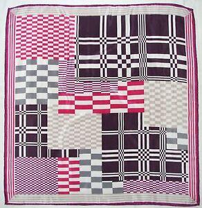 Fashion-GEOMETRIC-Pink-Purple-Black-Gray-CHECKED-Crepe-Silk-Hand-Rolled-SCARF