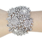 Bridal Flower Snowflake Bangle Bracelet Cuff Rhinestone Crystal Clear