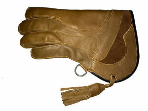 Falconry-Glove-Quadruple-Skinned-Nubuck-Leather-11-034-Long-4-Layer-Tawny-Brown