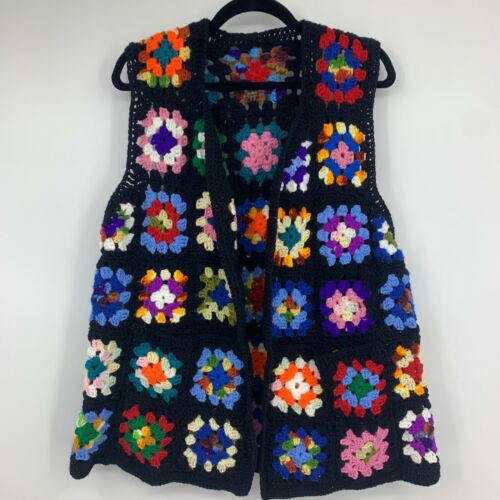 Vintage Crochet vest Large XL granny square cottag