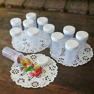 20-Plastic-JARS-White-Caps-RX-Container-Bottles-Vial-Wedding-Party-3814-Decojars