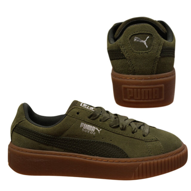 hot sale online 1ebf5 3a110 Puma Suede Platform Animal Womens Low Top Olive Lace Up Trainers 365109 03  B98A