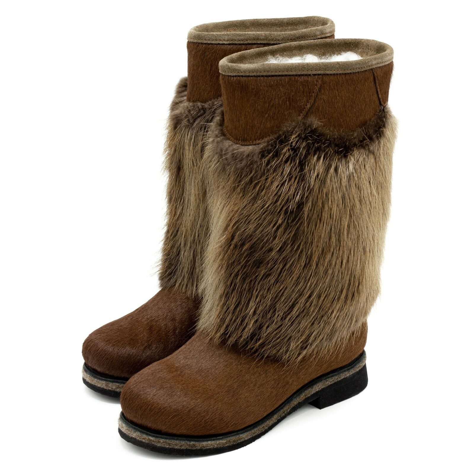 Fur Boots For Women Russian Style Unty Beaver And Pony Brown Fur Anti-Slip Sole