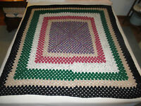 Handmade Crocheted Concentric Rectangle Afghan Throw - 48 X 50 - Unused