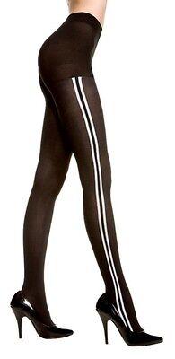 OPAQUE SIDE STRIPE Pantyhose - BLACK/WHITE O/S