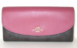 b45f9a8d93 ... coupon code for image is loading coach signature slim envelope wallet  rouge pink 7be7a b4bc5