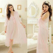 Retro Silk Chiffon Nightie Nightwear Petticoat Lingerie Sleepwear 2PCS Nightgown