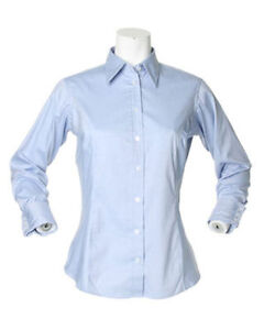 Kustom-Kit-Ladies-light-blue-Long-Sleeve-Oxford-Shirt-Office-Casual-Wear-KK702