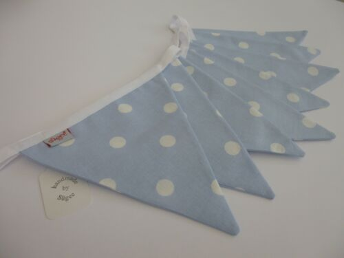 Baby Shower Gift- NEW Baby Blue and white cotton fabric bunting Nursery