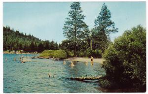 SWIMMING-IN-SCENIC-DONNER-LAKE-California-c1960-POSTCARD-Donner-State-Park