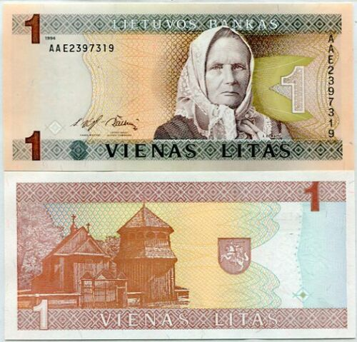 LITHUANIA 1 LITAS 1994 P 53 UNC
