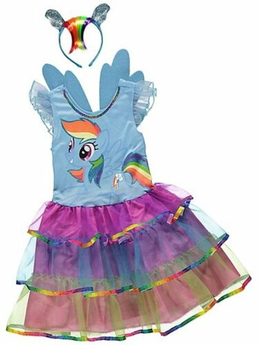 My Little Pony Rainbow Dash Fancy Dress Costume headband Removable wings 3-7