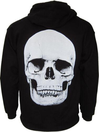 Big Skull Zip Hoody Hoodie Hooded Top Goth Biker Punk Rock Skeleton