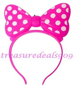 Minnie Mouse Ears Pink Light Up Bows Headband Birthday Mickey Party