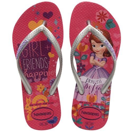 Havaianas Slim Princess Sofia Orchid Rose Print Flip Flop Sandals All Sizes
