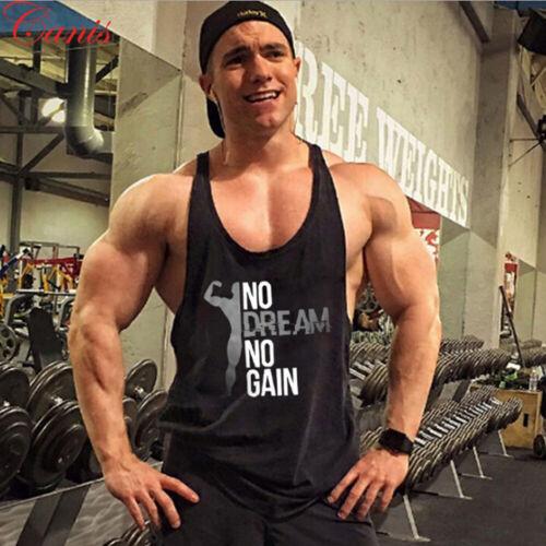 Men Gym Singlet Tank Top Tee Stringer Bodybuilding Y-Back Muscle Fitness Vest