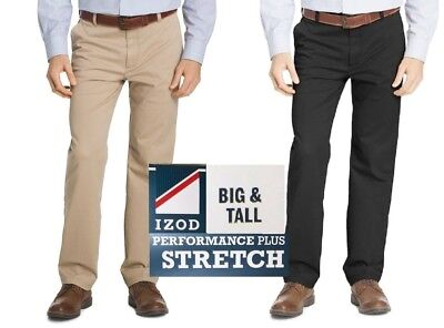 NWT Men/'s IZOD Flat Front Straight Leg Stretch Chino Dress Pants SportFlex Waist