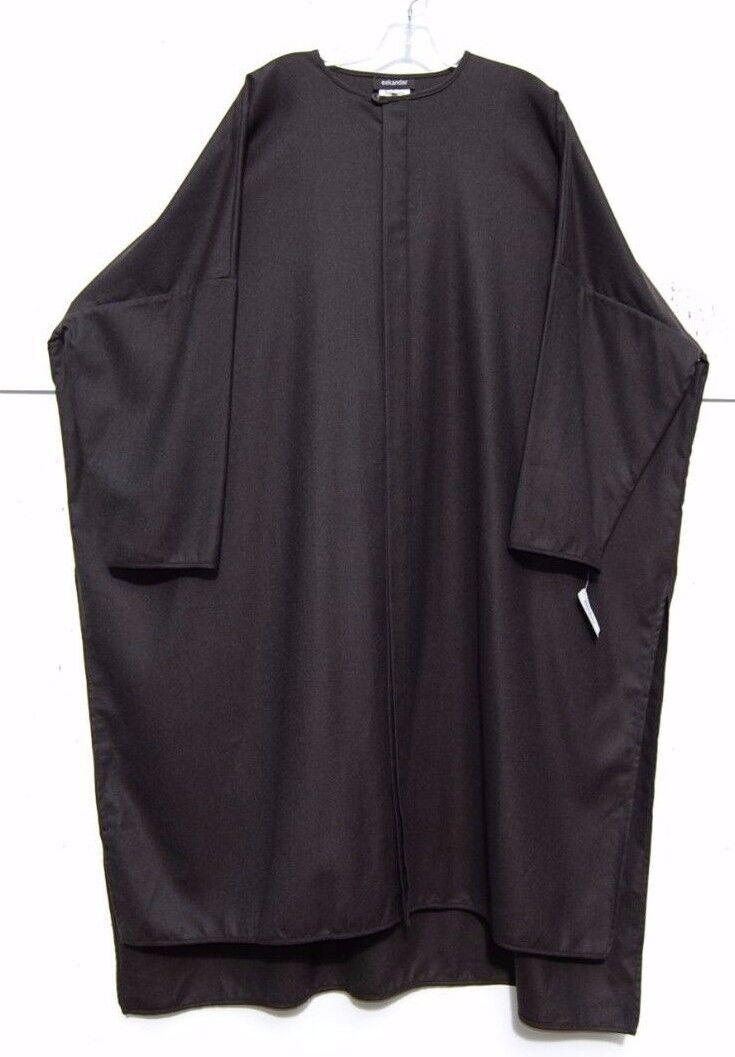 NWT Eskandar DARK marron Wool Cashmere Round Neck Tunic Robe veste (2)  2190