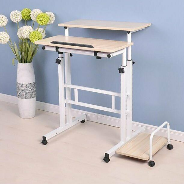 Mind Reader Multipurpose Home Office Desk, Mobile Sit And