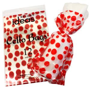 Christmas Cellophane Bags.Details About 12 Christmas Cellophane Cello Party Bags With Twist Ties Red Spot Design