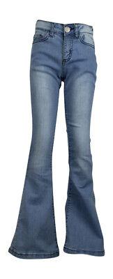 Cooperativa Le Ragazze Flare Svasato Bell Bottom Jeans Stretch Denim Blu Scuro, Blu Chiaro 7-13yrs-mostra Il Titolo Originale Ultima Moda