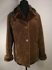 L.e.i Life Energy Intelligence Brown Corduroy/ Faux Fur Women's Med Jacket Coat